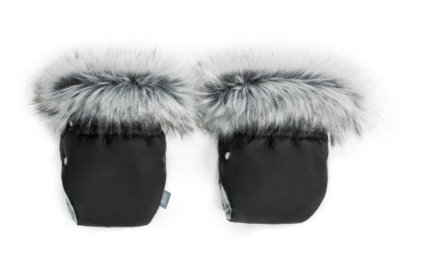 Zimske rokavice za voziček - črne s sivim krznom