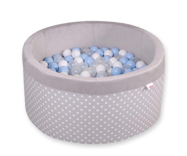 Didaktičen/igralni bazen z žogicami - siv več barvnih kombinacij pikice