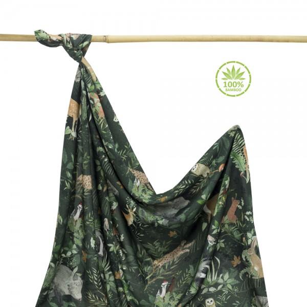 Bambusova povijalna plenica ali lahka poletna odejica z unikatnim potiskom WOODLAND (100x120cm)