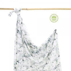 Bambusova povijalna plenica ali lahka poletna odejica z unikatnim potiskom SAGE GREEN (100x120cm)
