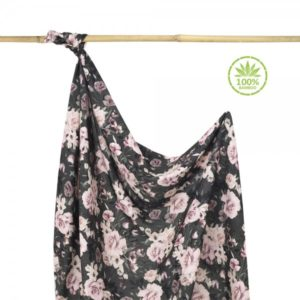Bambusova povijalna plenica ali lahka poletna odejica z unikatnim potiskom NIGHT FLOWERS (100x120cm)