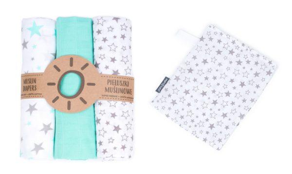 Komplet 3 muslinovih tetra plenic + gratis rokavička za umivanje mint z zvezdicami