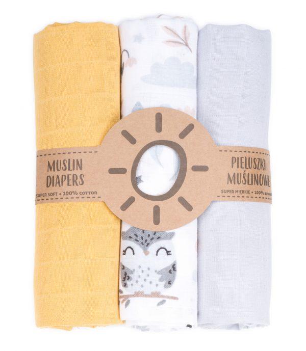 Komplet 3 muslinovih tetra plenic + gratis rokavička za umivanje - rumeno sive s sovicami