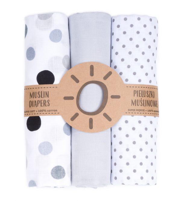 Komplet 3 muslinovih tetra plenic + gratis rokavička za umivanje - siva s črnimi in sivimi pikami