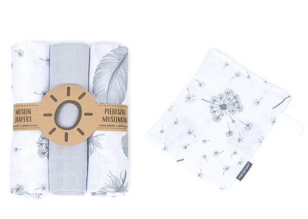 Komplet 3 muslinovih tetra plenic + gratis rokavička za umivanje siva s peresi in regratovimi lučkami