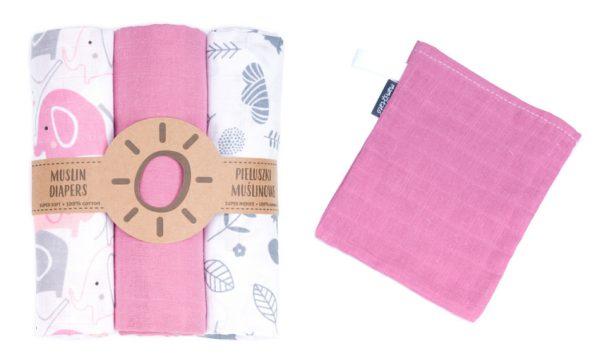 Komplet 3 muslinovih tetra plenic + gratis rokavička za umivanje - siva s pink slončki in listi