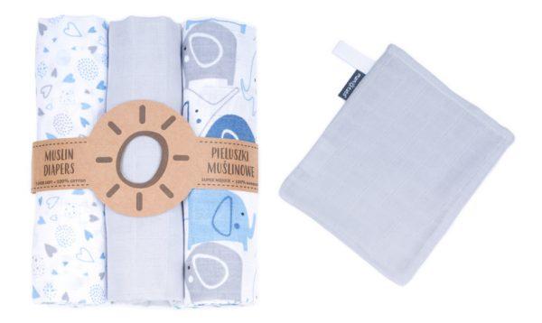 Komplet 3 muslinovih tetra plenic + gratis rokavička za umivanje siva s srčki in modrimi slončki