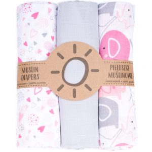 Komplet 3 muslinovih tetra plenic + gratis rokavička za umivanje siva s srčki in roza slončki