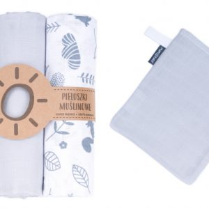 Komplet 3 muslinovih tetra plenic + gratis rokavička za umivanje - siva z modrimi slončki in listi