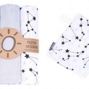 Komplet 3 muslinovih tetra plenic + gratis rokavička za umivanje - siva z regratovimi lučkami in črnimi zvezdicami