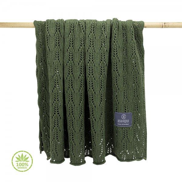 Pomladno poletna bambusova odejica z luknjicami - olivno zelena