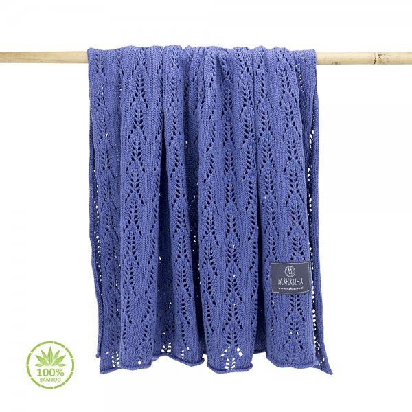 Pomladno poletna bambusova odejica z luknjicami - vijolično modra