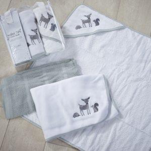 3 delni set kopalne brisače, tanjše odejice in odejice iz pliša - Woodland1