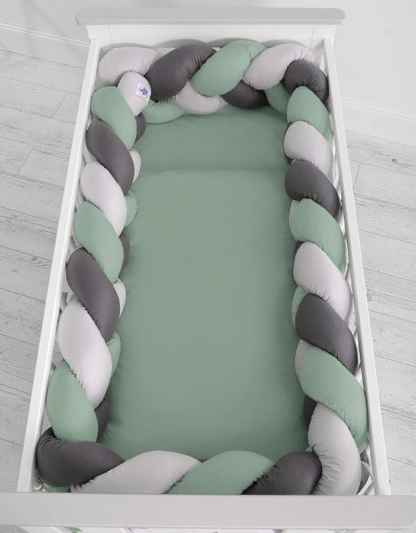 Obroba kitka 360cm pastelno zelena, svetlo siva, antracit