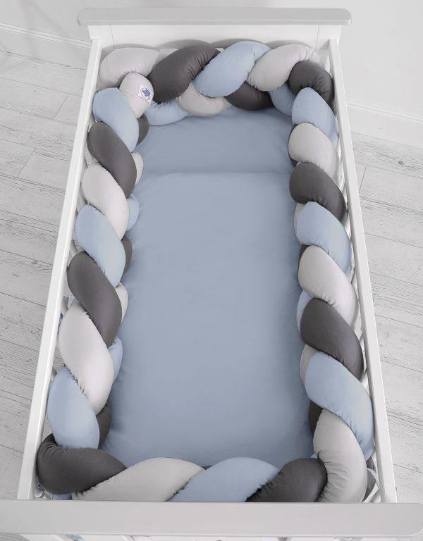 Obroba kitka 360cm pastelno modra, svetlo siva, antracit