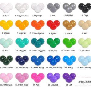 Barvna karta plastičnih žogic