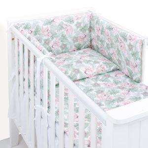 3 delna obojestranska posteljnina bela – havajske rože