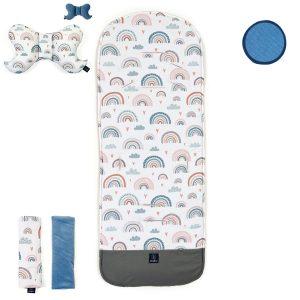 Set podloge za voziček z zaščito pred umazanijo – mavrice z modro