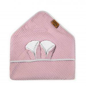 Kopalna brisača iz vaflja s kapuco medo - vijolično roza