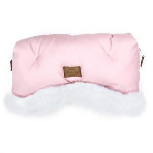 Prestižne muff rokavice Alaska z eko krznom in eko usnjem - roza z belim krznom