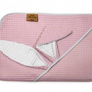 Kopalna brisača iz vaflja s kapuco zajček - vijolično roza