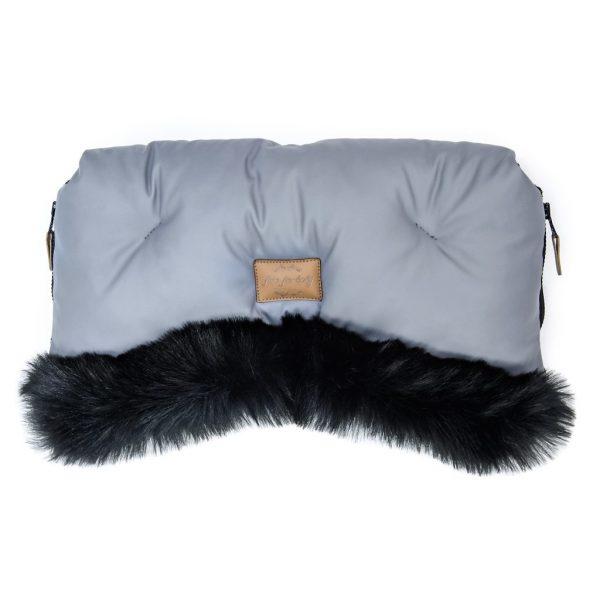 Prestižne muff rokavice Alaska z eko krznom in eko usnjem - sive s črnim krznom
