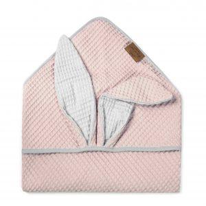 Kopalna brisača iz vaflja s kapuco zajček - svetlo roza