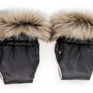 Zimske rokavice za voziček – črne z rjavim krznom