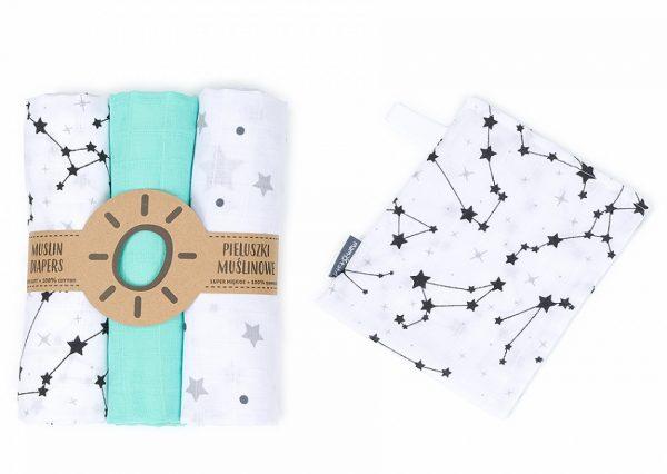 Komplet 3 muslinovih tetra plenic + gratis rokavička za umivanje – mint s črnimi zvezdicami