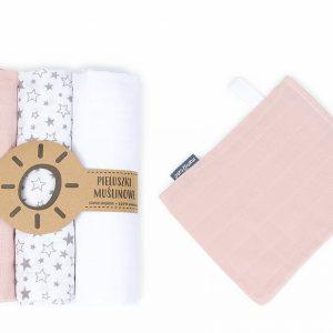 Komplet 3 muslinovih tetra plenic + gratis rokavička za umivanje – roza z zvezdicami (v resnici je živo roza)