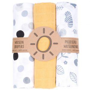 Komplet 3 muslinovih tetra plenic + gratis rokavička za umivanje – rumena s sivimi in črnimi pikami