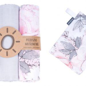 Komplet 3 muslinovih tetra plenic + gratis rokavička za umivanje – siva z vrtnicami