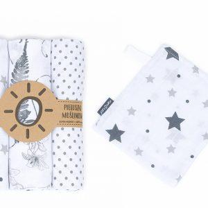 Komplet 3 muslinovih tetra plenic + gratis rokavička za umivanje – zvezdice z rožami in pikicami