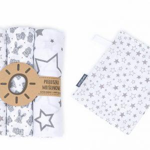 Komplet 3 muslinovih tetra plenic + gratis rokavička za umivanje – zvezdice z zajčki