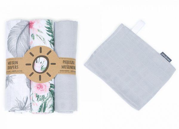 Komplet 3 muslinovih tetra plenic + gratis rokavička za umivanje – cvetlice