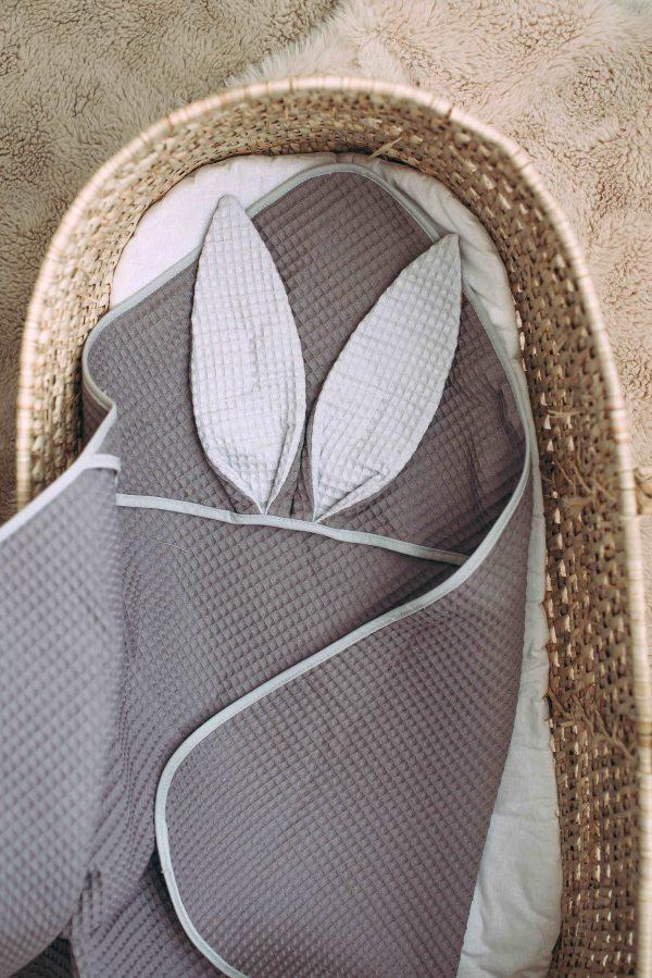 Kopalna brisača iz vaflja s kapuco zajček - antracit