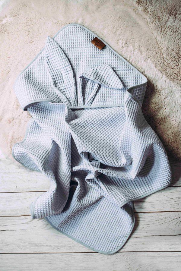 Kopalna brisača iz vaflja s kapuco zajček - svetlo siva