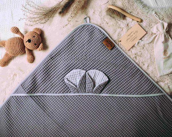 Kopalna brisača iz vaflja s kapuco medo - antracit