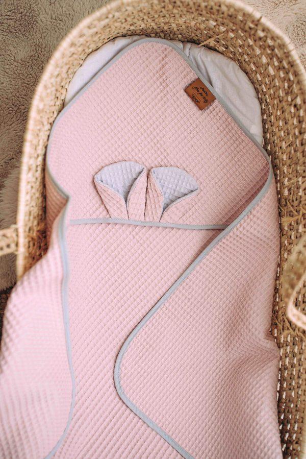 Kopalna brisača iz vaflja s kapuco medo - svetlo roza
