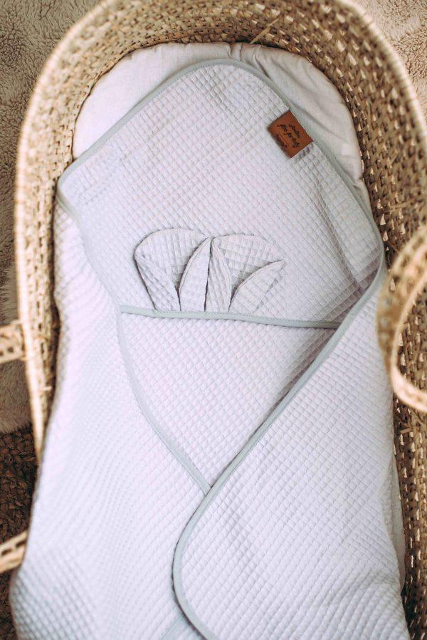 Kopalna brisača iz vaflja s kapuco medo - svetlo siva