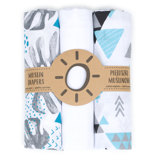 Komplet 3 muslinovih tetra plenic + gratis rokavička za umivanje – Tresor