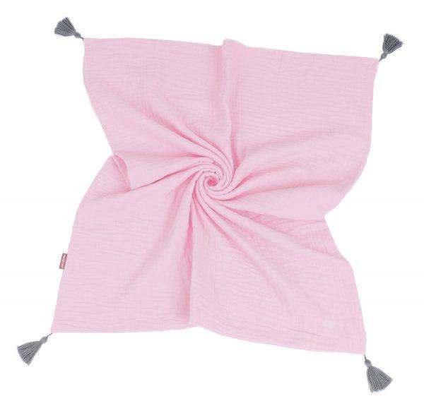 Muslinova odejica s cofki - svetlo roza