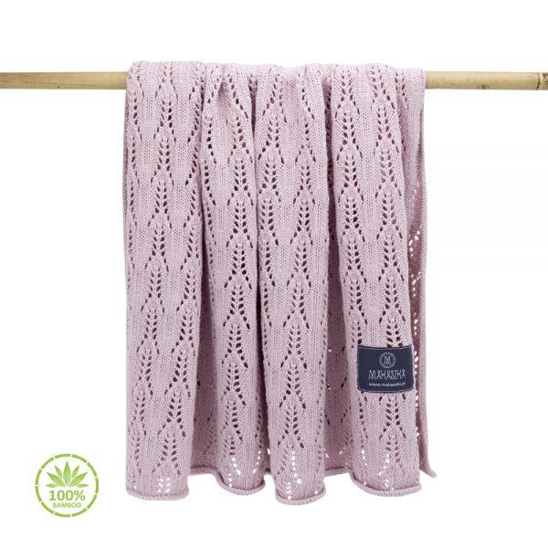 Pomladno poletna bambusova odejica z luknjicami – svetlo roza