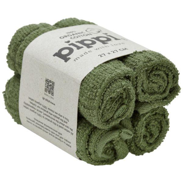Krpice za umivanje iz organskega bombaža (4 KOSI) – Deep Lichen Green