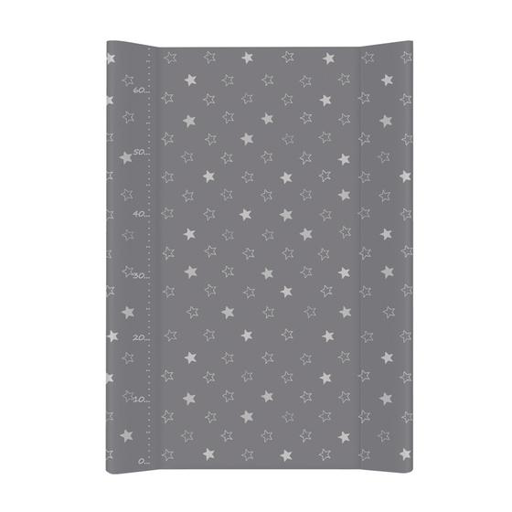 Previjalna podloga s trdnim dnom za namestitev na posteljico - zvezdice temno siva