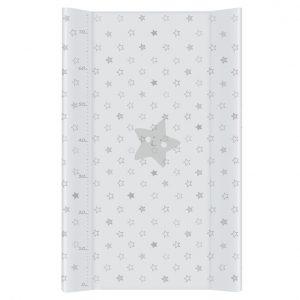 Previjalna podloga s trdnim dnom za namestitev na posteljico - zvezdice belo siva