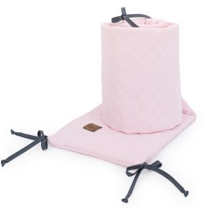 Muslinova obroba za posteljico 30 x 180 cm - svetlo roza