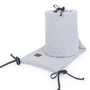 Muslinova obroba za posteljico 30 x 180 cm - svetlo siva