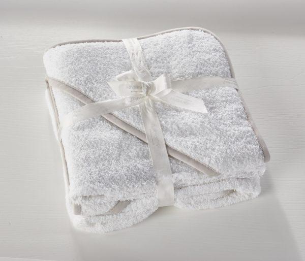 Set dveh kopalnih brisač iz frotirja - bele barve
