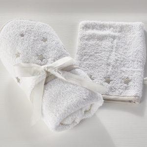 Komplet kopalne brisače in rokavice za umivanje - bela z zvezdicami
